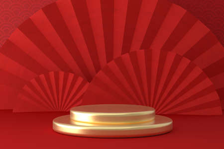 Chinese New Year style red one podium product showcase with gold circular shape with China fold fan and  pattern scene background. Holiday traditional festival concept. 3D illustration rendering