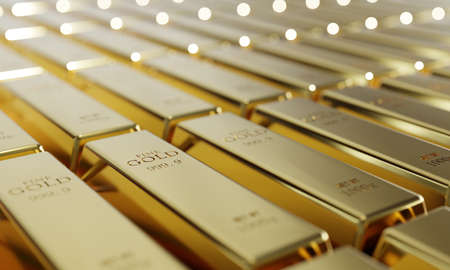 Shiny pure gold bars in a row background. Wealth and economic concept. Business gold future investment and money saving theme. 3D illustration rendering graphic design
