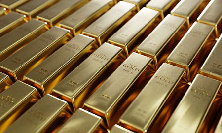 Shiny pure gold bars in a row background. Wealth and economic concept. Business gold future investment and money saving theme. 3D illustration rendering