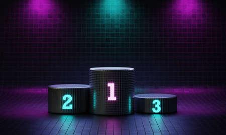 Cyberpunk cylinder winner podium on spotlight background with neon emission number place. Futuristic scene style concept. Studio platform. Exhibition presentation stage. 3D illustration render graphic