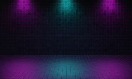 Dark empty room made from brick with violet and blue color spotlight background. Cyberpunk style and theater stage concept. Architecture and interior theme. 3D illustration rendering graphic design