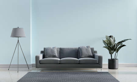 Luxury modern interior of blue pastel and gray tone living room home decor concept background. Three legs electric lamp and monstera pot on marble floor and mat. 3D illustration rendering graphic 免版税图像