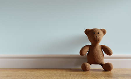 Brown cute teddy bear toy leaning on blue-green pastel background and wooden floor. Kids play and newborn baby room concept. 3D illustration. 3D rendering graphic design