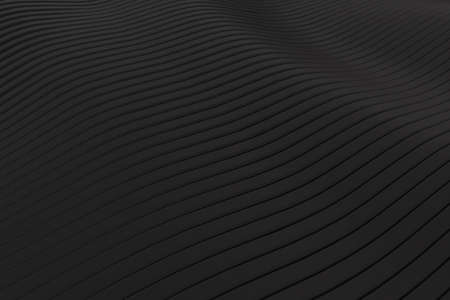 Closeup abstract black silver smoked metallic stripe slicing wavy background. Minimalism concept. Graphic design wallpaper and backdrop. 3D illustration rendering 免版税图像