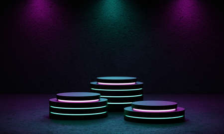Cyberpunk product podium platform studio with blue and violet spotlight and grunge style textured background. Three stages. Retro stage and Futuristics scene concept. 3D illustration rendering graphic 免版税图像
