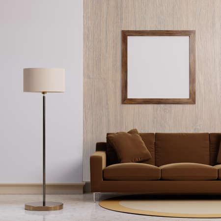 Luxury modern interior of dark brown tone living room home decor concept background. Standing electric lamp and empty wooden picture frame on concrete wall and floor. 3D illustration rendering graphic 免版税图像
