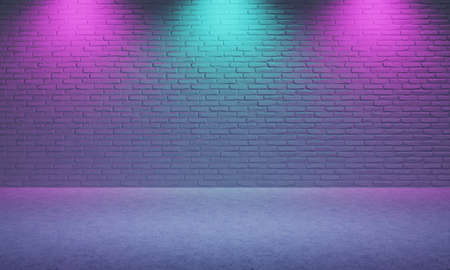 Bright empty room made from brick with violet and blue color spotlight background. Cyberpunk style and theater stage concept. Architecture and interior theme. 3D illustration rendering graphic design