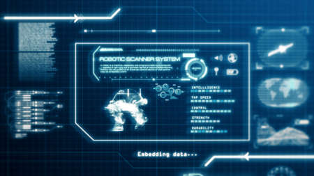 HUD Robot Scanning System ability user interface computer screen display with pixels background. Blue abstract hologram holographic technology concept. Sci-fi. 3D illustration rendering graphic design 免版税图像