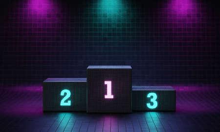Cyberpunk cube winner podium on spotlight background with neon emission number place. Futuristic scene style concept. Studio platform. Exhibition and presentation stage. 3D illustration render graphic 免版税图像