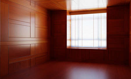 Empty Asian style wooden room with window. Japanese modern design with the wood plank. Architecture and interior concept. 3Dillustration rendering 免版税图像
