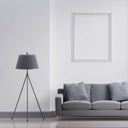 Luxury modern interior of white and gray tone living room home decor concept background. Three legs electric lamp and empty picture frame on marble wall and floor. 3D illustration rendering graphic 免版税图像