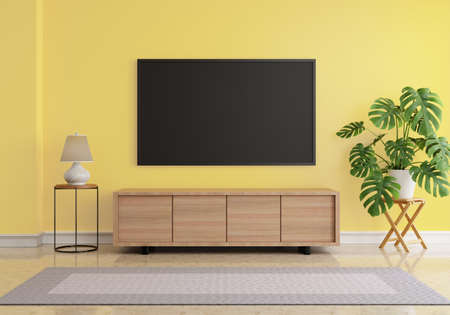 Living room with blank screen hanging LCD Television mock up on yellow wall. Monstera plant and desk lamp and grey carpet on marble floor. Architecture and interior concept. 3D illustration rendering