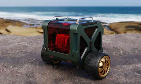 Two-wheel parcel and spare part delivery balancing box bot on rock hill beside beach and sea in outdoor background. Technology and transportation concept. 3D illustration rendering