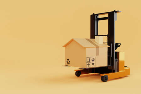 Forklift lifting and moving cardboard boxes that look like home or house on yellow background. Industrial and household mortgage concept. Delivery and transportation. 3D illustration rendering