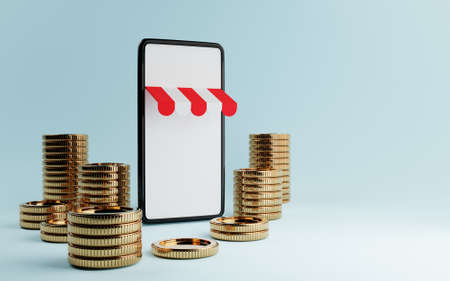 Smart phone with white black sceen background and pile of gold money coin on blue background. Business and onlines hopping concept. 3D illustration rendering