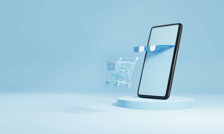 Smartphone with shopping cart and blank empty screen on blue stage background. Online shopping delivery business e-commerce store and social media application concept. 3D illustration rendering 免版税图像