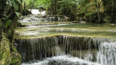 Namtok Huai Mae Khamin Waterfall at Kanchanaburi Thailand Stock Photo