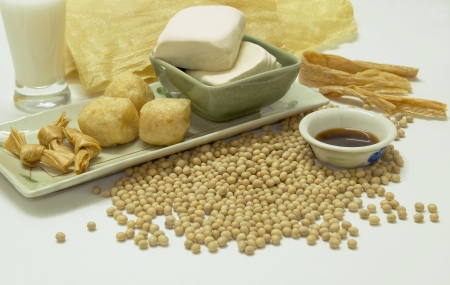 bean family: Array of healthy organic soya beans products. Stock Photo