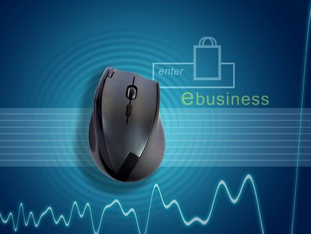 Montage of digital background with monitoring chart and a retail icon potraying the ebusiness shopping trend. An image of wireless mouse sits on a ripple depicting a hassle free networking. photo