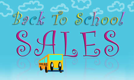 hanging out: Graphic illustration of Back To School Sales promotional usage.
