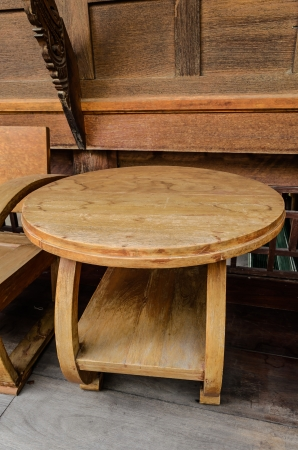 sty: table wood old thai sty Stock Photo