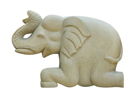 gray stone elephant statue on white background  photo