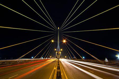 Rama 8 Bridge At Night in bangkok thailand  photo