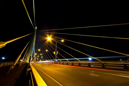 Rama 8 Bridge At Night in bangkok thailand  photo