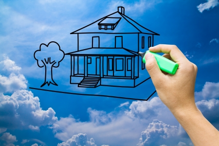 secure home: hand drawing dream home on blue sky