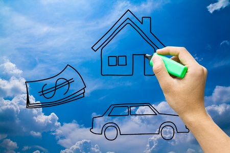sell car: hand drawing home money car on blue sky