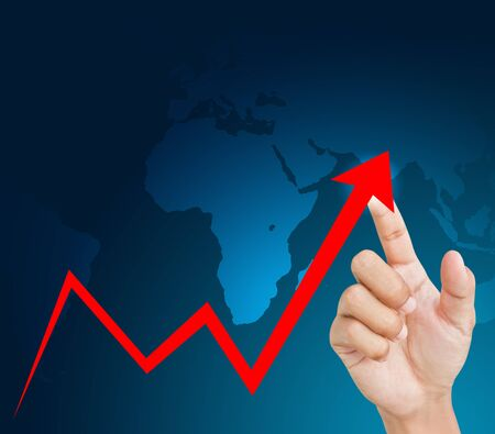 secure growth: hand graph Stock Photo