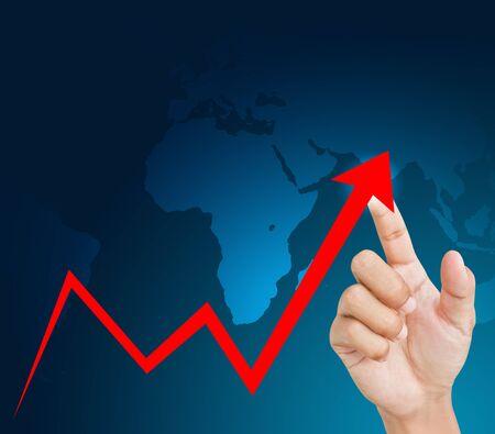 economic growth: hand graph Stock Photo