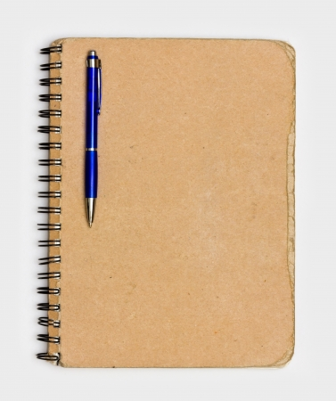 notebook cover: Vintage Old Notebook Paper with Pen