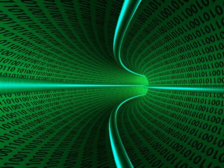 bytes: Binary code zeros and ones creating background in green