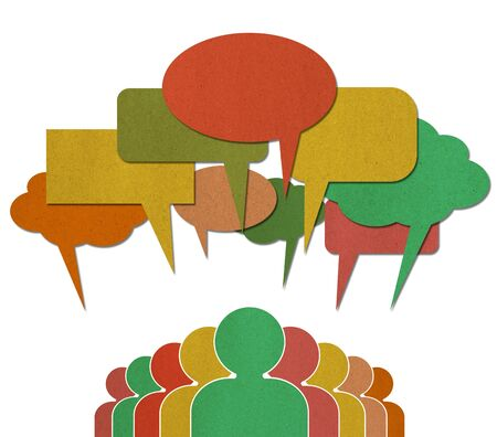 voices: A group of Communication Network Social Media Business People talk in colorful speech bubbles  Stock Photo