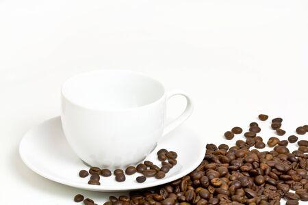 coffee crop: Coffee cup and grain Stock Photo