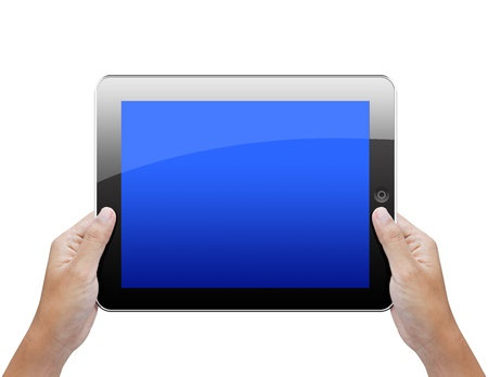 Business hand holding a tablet isolated on white  photo