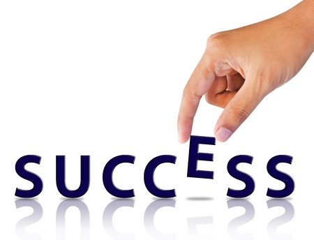 Business hand and word success  Stock Photo