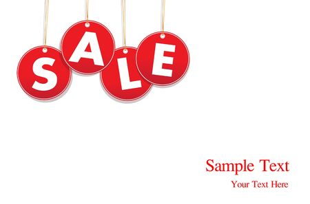 Red hanging sale labels  photo