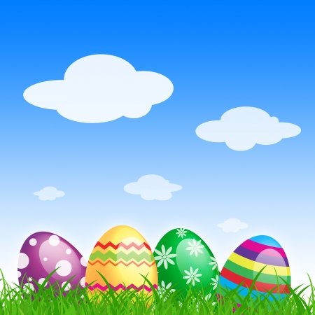 many color easter eggs over blue background Stock Photo - 14627051