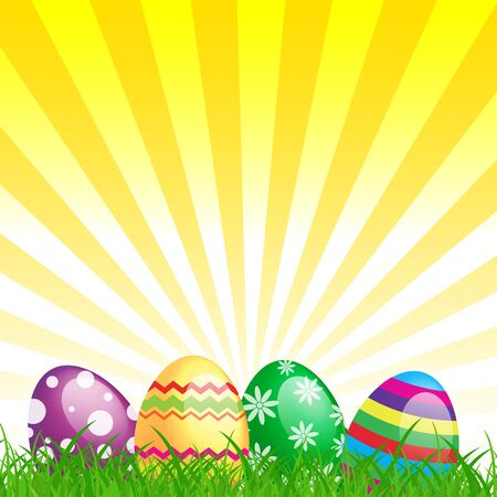 many color easter eggs over blue background Stock Photo