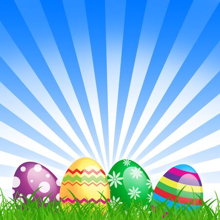 many color easter eggs over blue background Stock Photo - 14627055