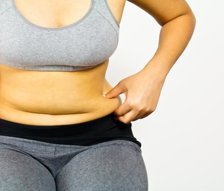 girl belly: Fat female body part Stock Photo