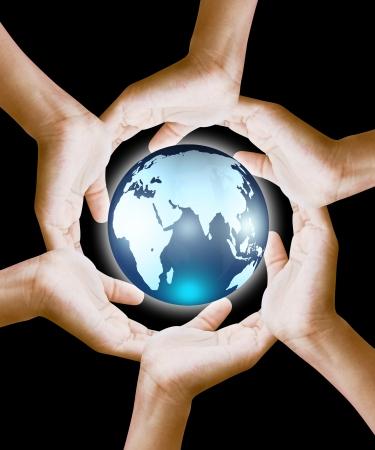 mundo manos: globo en manos Foto de archivo