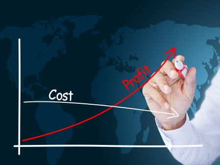 cost: business hand showing success graph
