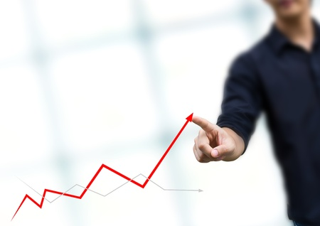 growth rate: businessman hand touch virtual graph,chart, diagram Stock Photo