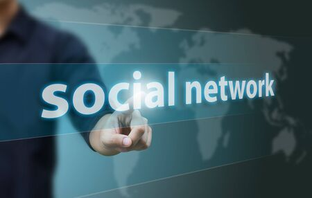 social system: Business hand touch social network