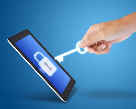 encryption icon: Tablet and key