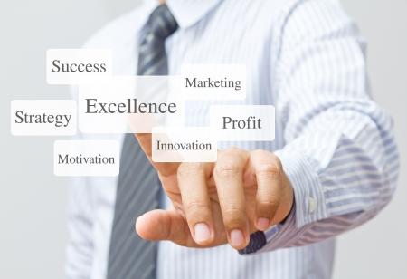 Businessman push excellence button