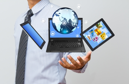Technology in business hand Stock Photo
